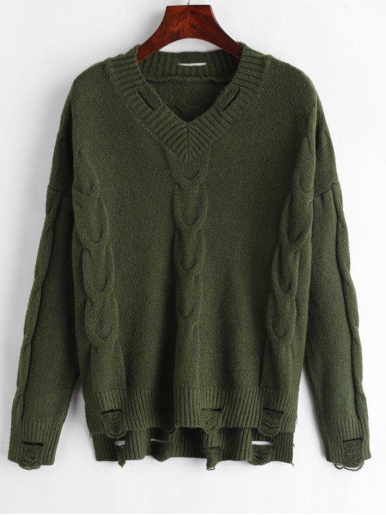 hot Distressed High Low Drop Shoulder Sweater - FERN GREEN ONE SIZE
