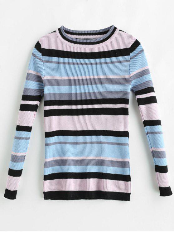 Suéter acanalado de rayas de colores - Multi Única Talla