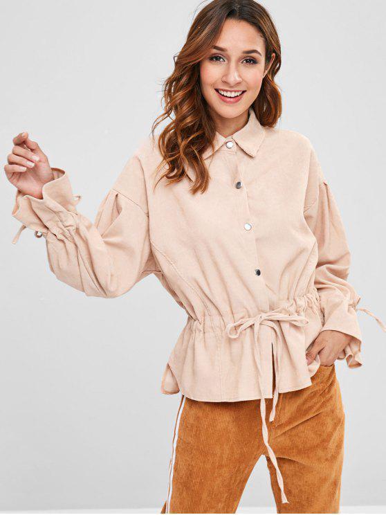 affordable Long Sleeve Drawstring Waist Shirt - LIGHT KHAKI ONE SIZE