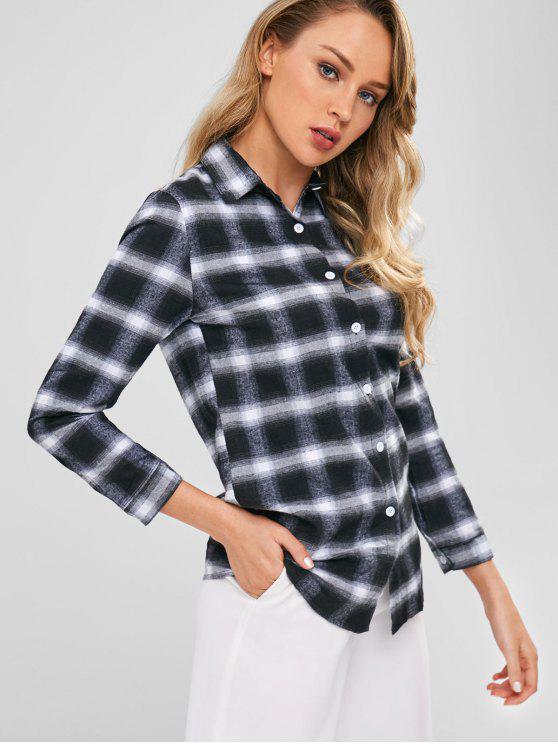 Camisa a cuadros casual túnica - Negro L
