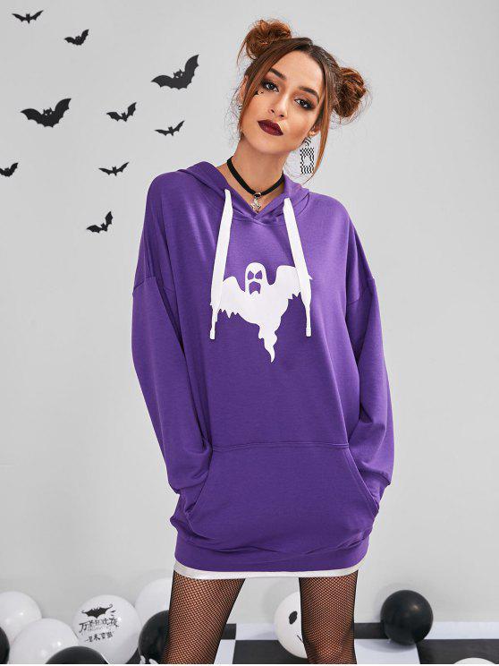 women's ZAFUL Front Pockets Ghost Halloween Hoodie - PURPLE ONE SIZE