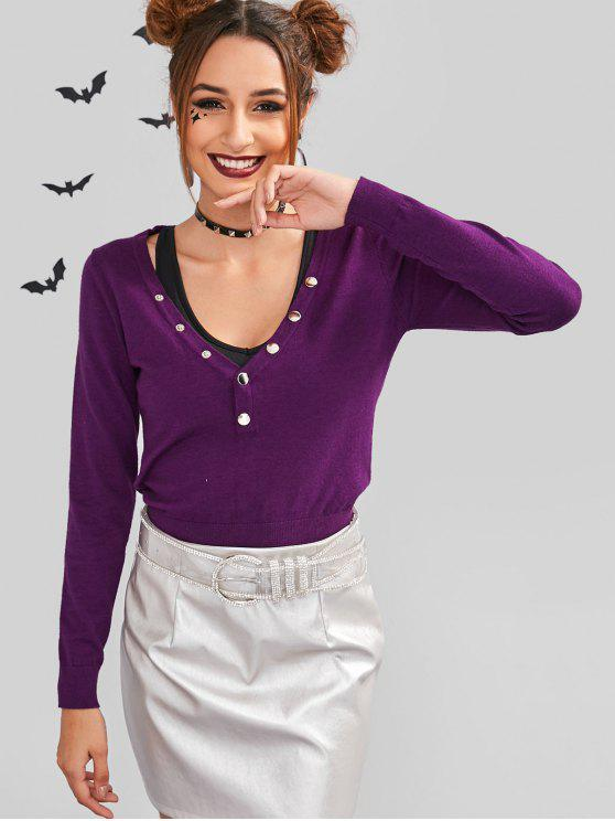 ladies ZAFUL Snap Button V Neck Sweater - DARK ORCHID M