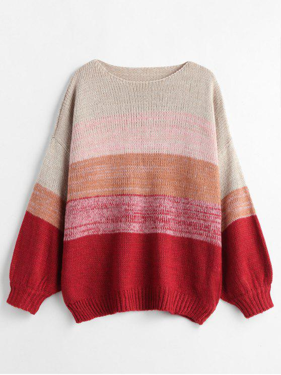 shops Mixed Yarn Striped Oversized Sweater - MULTI ONE SIZE