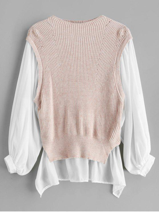 Suéter largo de bloque de color alto bajo - Cerdo Rosa S