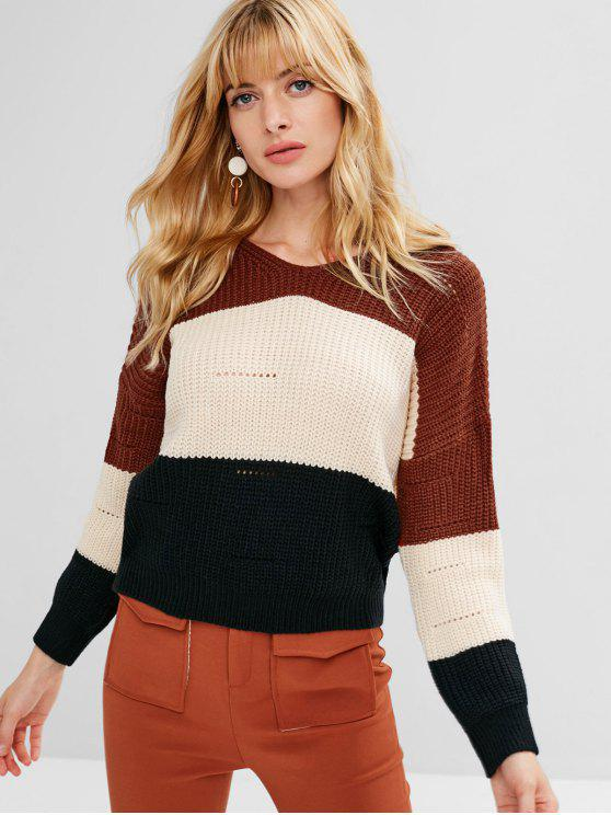 latest Color Block Hooded Chunky Sweater - BEIGE ONE SIZE
