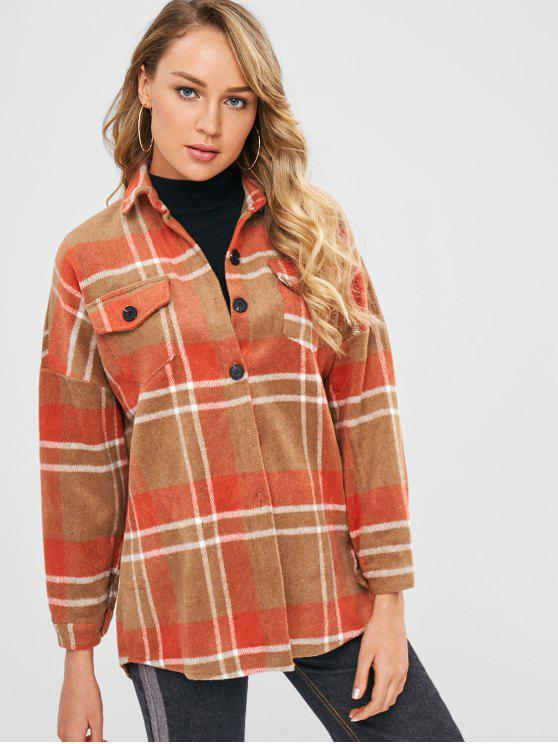 women Plaid Longline Woolen Coat with Pockets - MULTI ONE SIZE