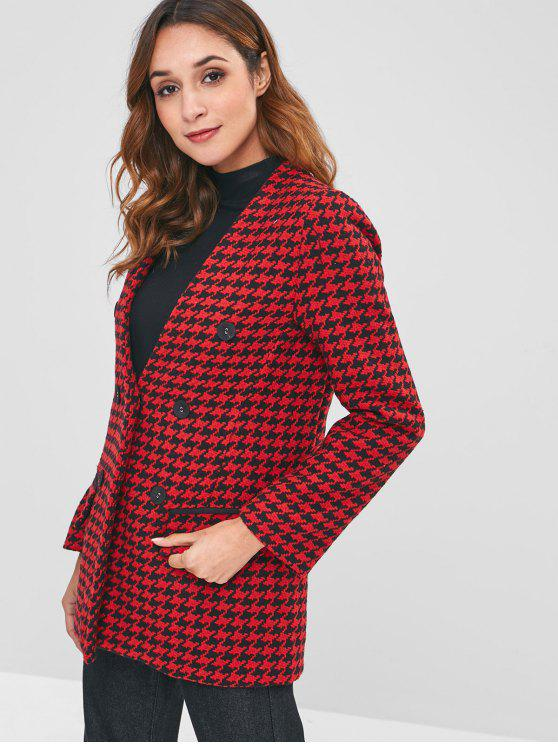 ladies Flap Pockets Houndstooth Tweed Coat - MULTI L
