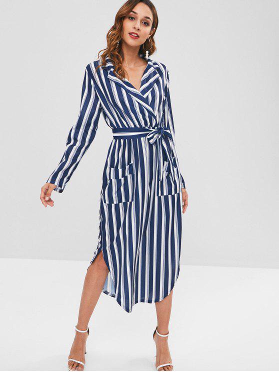 online Long Sleeve Shirt Midi Dress - MULTI S