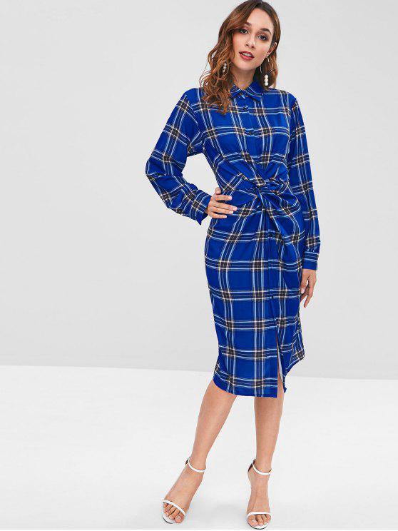 hot Checked Twist Midi Shirt Dress - MULTI L