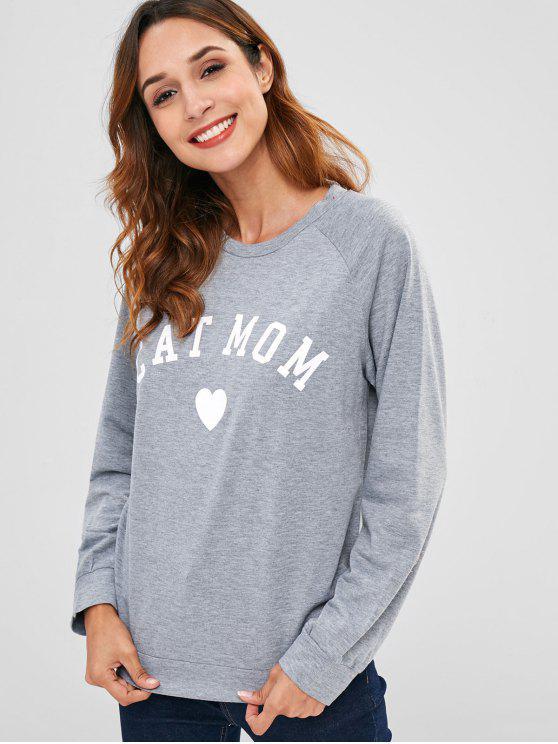 Moletom suéter gola de mangas reglã com impresso gráfico - Cinzento L
