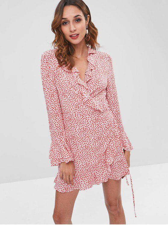 Mini vestido de lazo con volantes florales - Rojo L