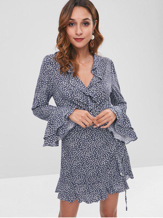 affordable Floral Ruffles Mini Wrap Tie Up Dress - DEEP BLUE M