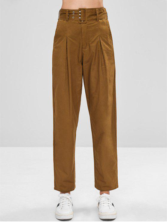 trendy Belted High Waisted Chino Pants - LIGHT BROWN M