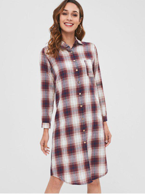 womens Checked Long Sleeve Midi Shirt Dress - MULTI ONE SIZE
