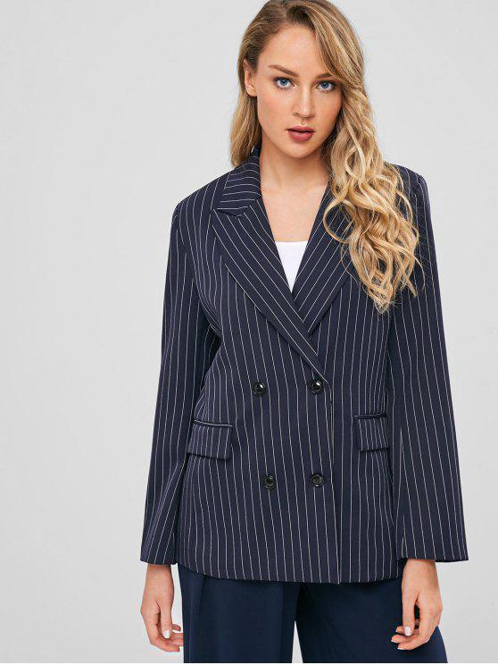 trendy Double Breasted Pockets Striped Blazer - DARK SLATE BLUE L