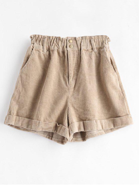 Pantalones cortos de pana con puño - Tan S