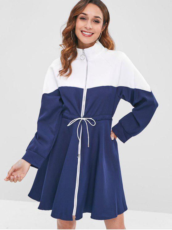affordable Drawstring Waist Color Block Zip Dress - CADETBLUE ONE SIZE