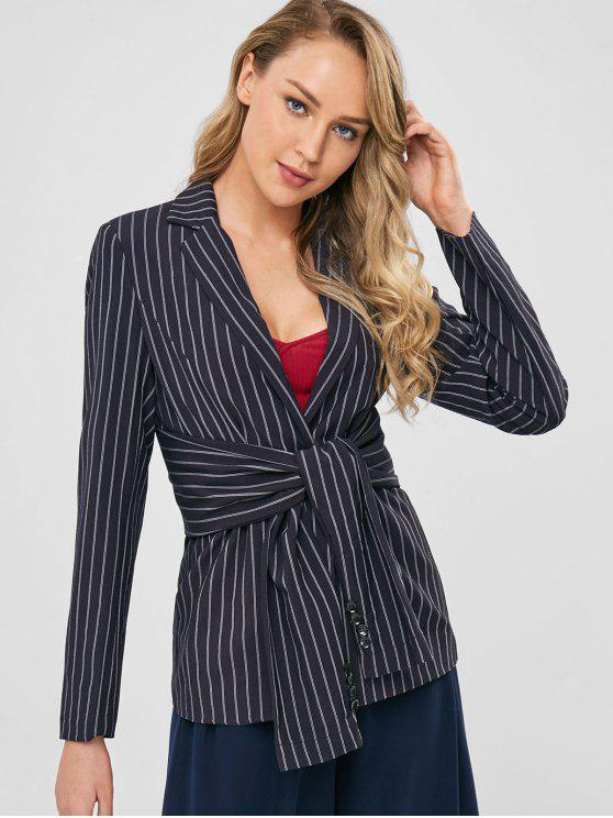 hot One Button Striped Knotted Blazer - BLACK L