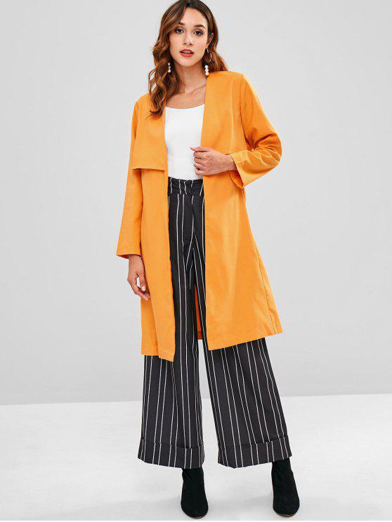 trendy Back Slit Belted Trench Coat - BEE YELLOW S
