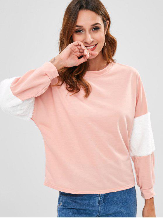 Kontrastierendes Faux-Pelz-Ordnungs-Sweatshirt - Flamingo Rosa L