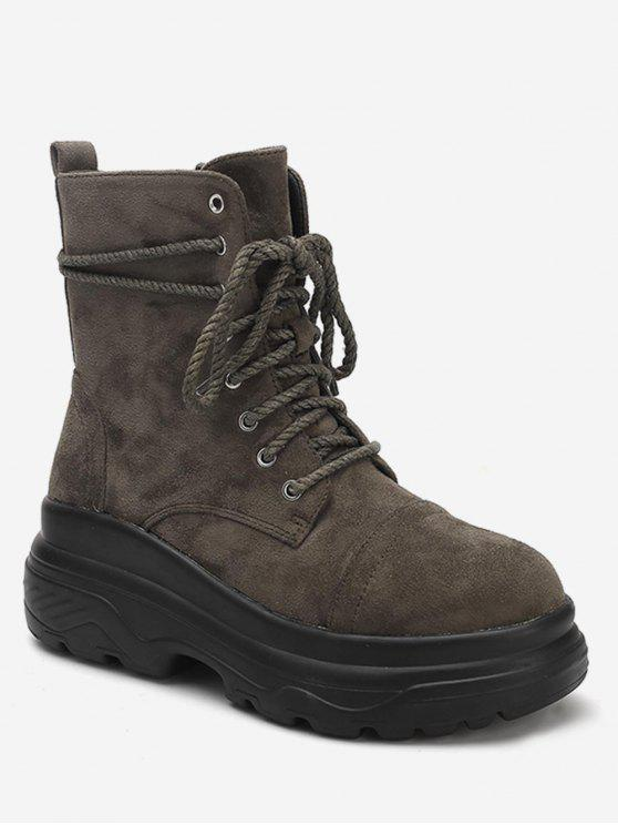 ladies Lace Up Platform Short Boots - ARMY GREEN EU 39