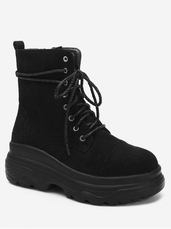 hot Lace Up Platform Short Boots - BLACK EU 39
