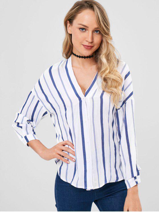 Camisa a rayas con hombros caídos - Multicolor Talla única