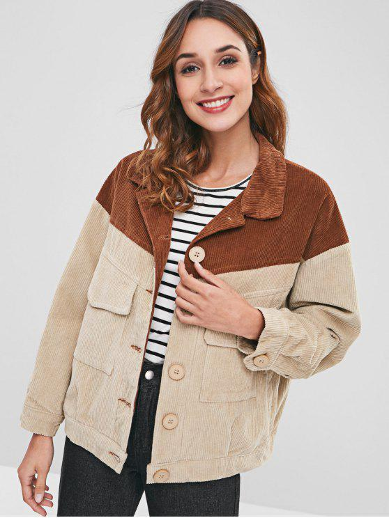 womens Button Up Two Tone Corduroy Jacket - MULTI M