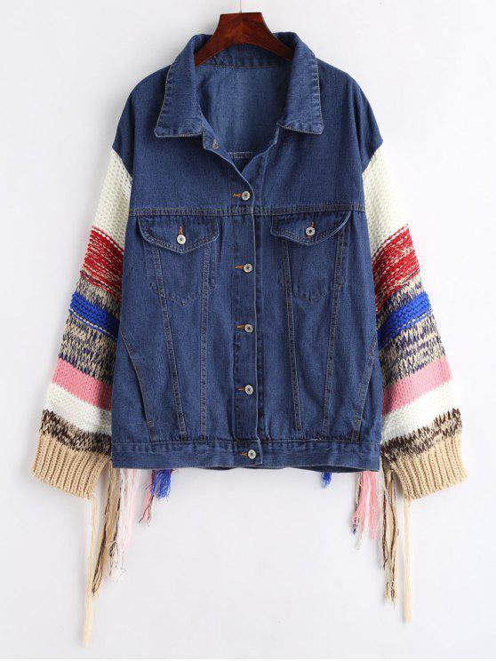 shops Knit Button Up Tassels Denim Jacket - DENIM DARK BLUE ONE SIZE