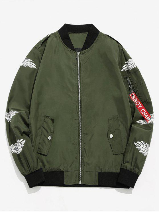 best Feather Print Lightweight Bomber Jacket - ARMY GREEN M