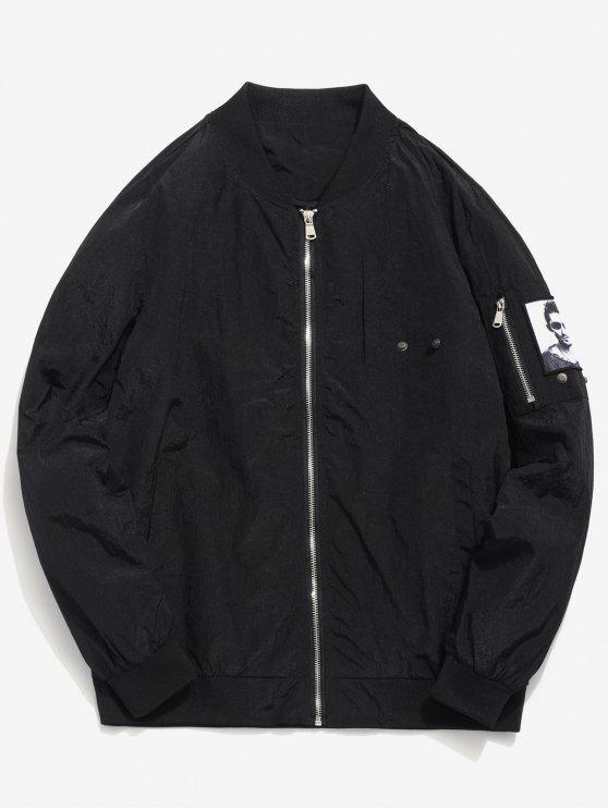 Pockets Patch Waterproof Bomber Jacket - Negro M