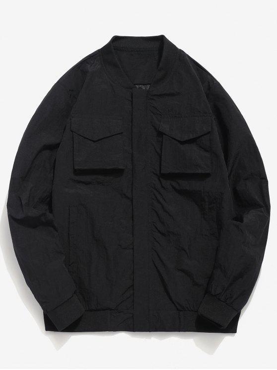 Solide Taschen Anti-Falten-Jacke - Schwarz XS