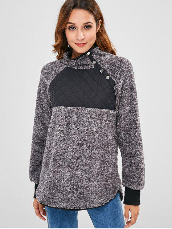 lady Quilted Penel Fluffy Faux Fur Sweatshirt - GRAY L