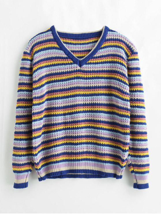 trendy Loose Color Block Striped Sweater - MULTI ONE SIZE