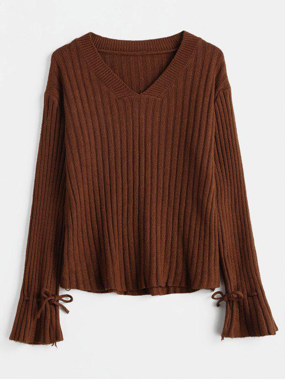 chic Ribbed V Neck Bell Cuff Sweater - SEPIA ONE SIZE