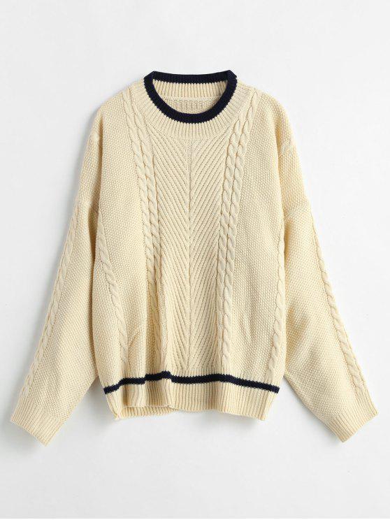 Suéter de pescador de punto de encaje de punto de cable - Beige Talla única