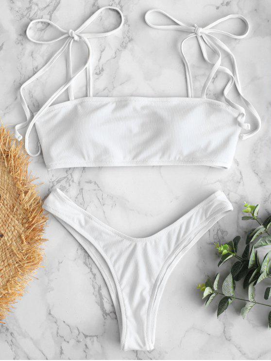 fashion Tie Shoulder Ribbed Micro Bikini Set - WHITE L