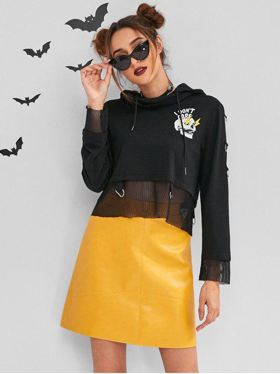 chic ZAFUL Halloween Costumes Cropped Hoodie - BLACK S