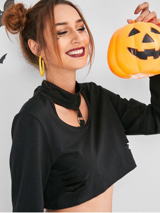 affordable ZAFUL Slashed Cropped Halloween Choker Sweatshirt - BLACK M