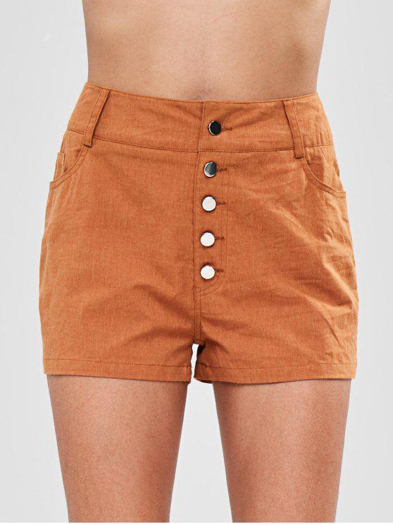 women ZAFUL Button Fly Pocket Shorts - LIGHT BROWN S