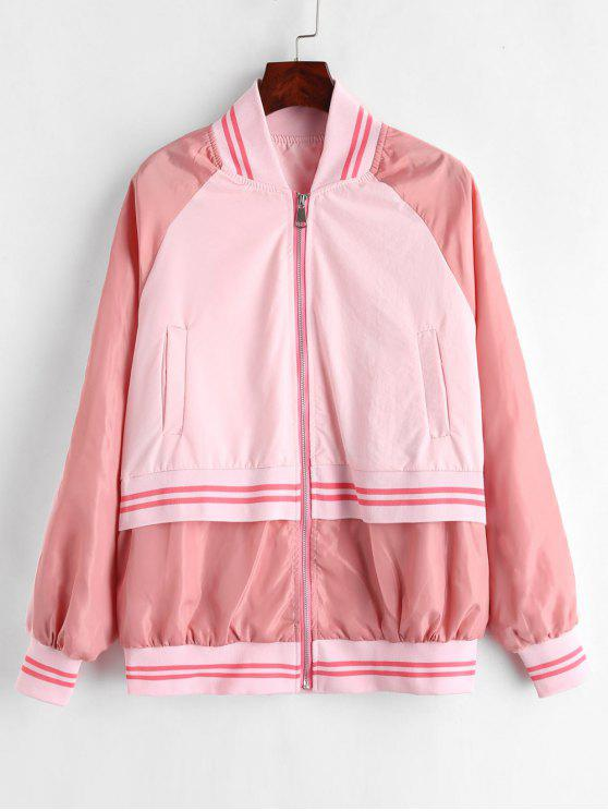 womens Striped Raglan Sleeve Zipper Jacket - PIG PINK S