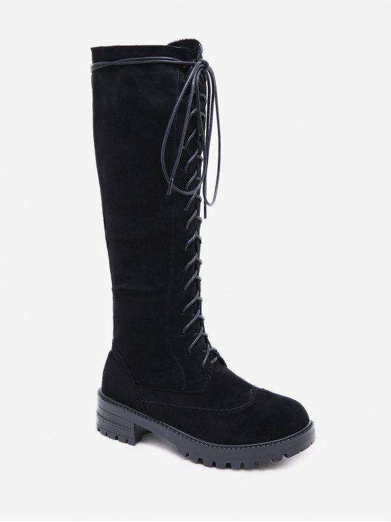 Botas altas hasta la rodilla con plataforma de tacón grueso - Negro EU 38