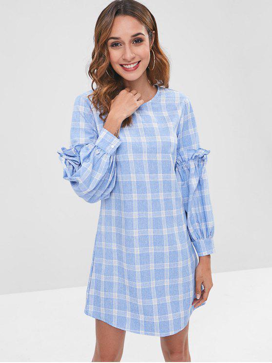 Zaful manta xadrez manga mini vestido - Azul claro M