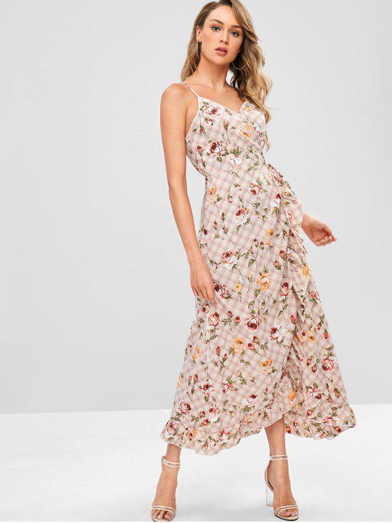 chic ZAFUL Plaid Flower Ruffle Wrap Dress - LIGHT PINK M