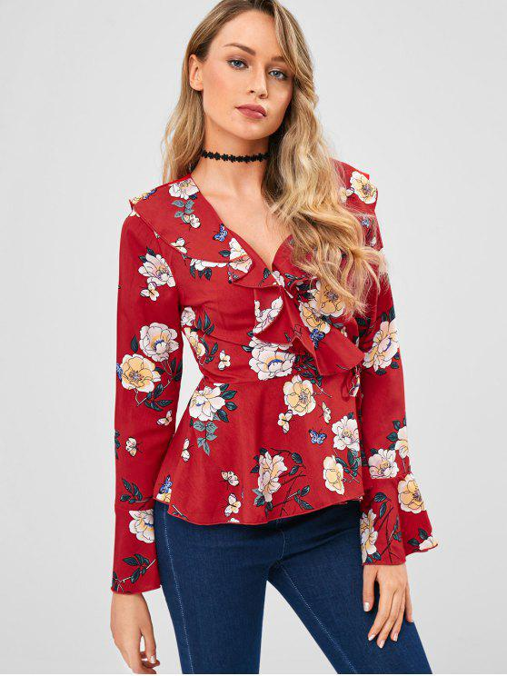 affordable ZAFUL Flower Peplum Wrap Blouse - RED M