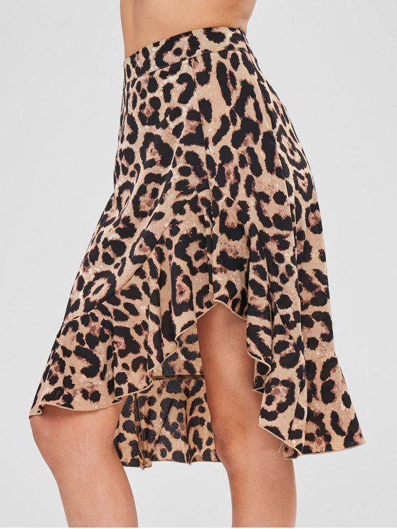 ZAFUL Leopard High Low Plissado Saia - Leopardo L