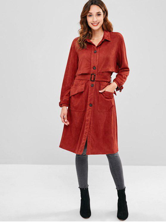 lady Button Front Faux Suede Trench Coat - RED WINE S