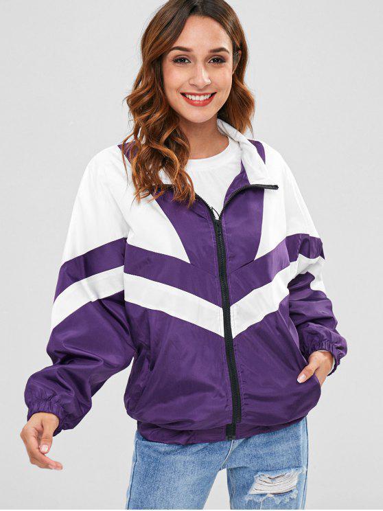shops Full Zip Chevron Color Block Jacket - PURPLE ONE SIZE