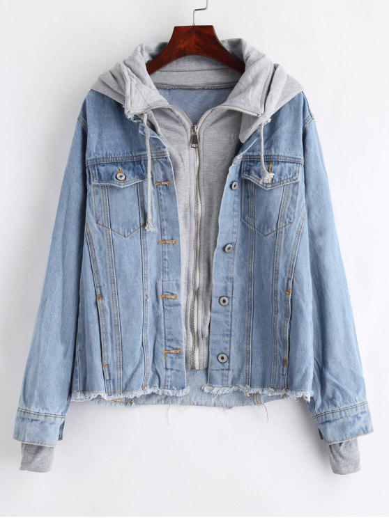 shop Hooded Frayed Jean Jacket - DENIM BLUE M