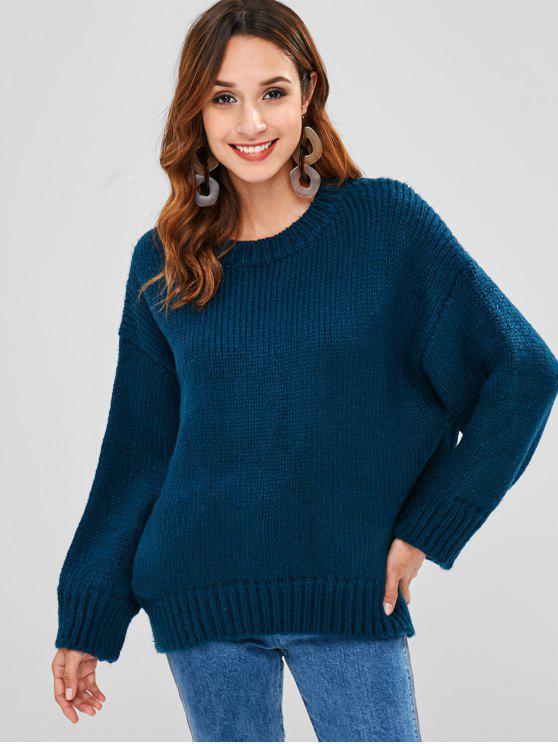 Suéter de gran tamaño grueso - Azul Eléctrico Talla única